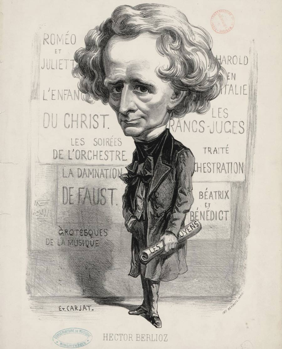 Hector Berlioz, lithographie d'Etienne Carjat, 1862. Gallica-BnF
