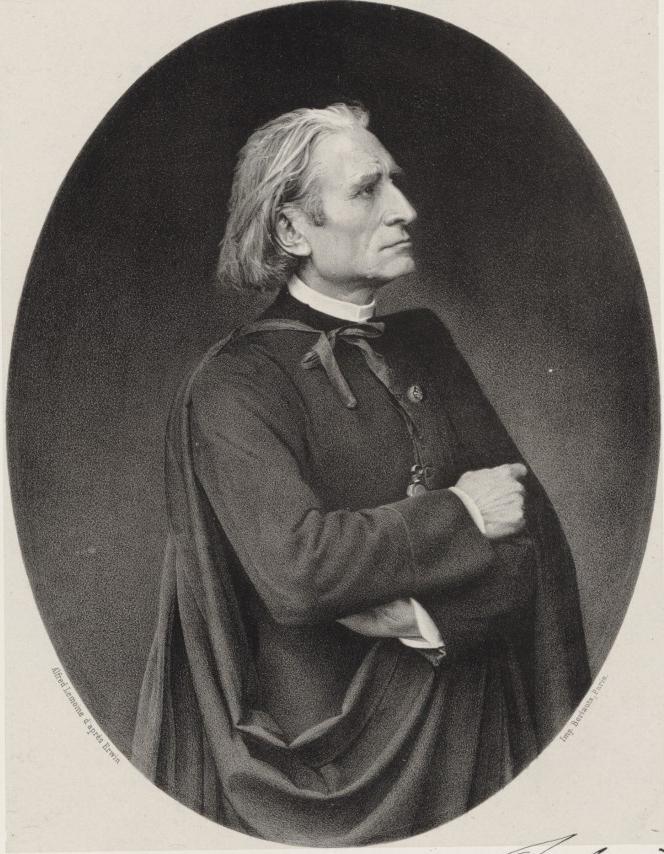 L'Abbé Liszt au Vatican, 1866, lithographie d'Alfred Lemoine d'après Erwin. Gallica-BnF