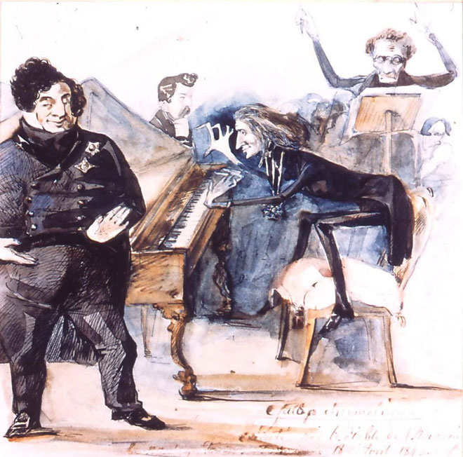 Liszt jouant Grand Galop chromatique, 1843. Gallica-BnF