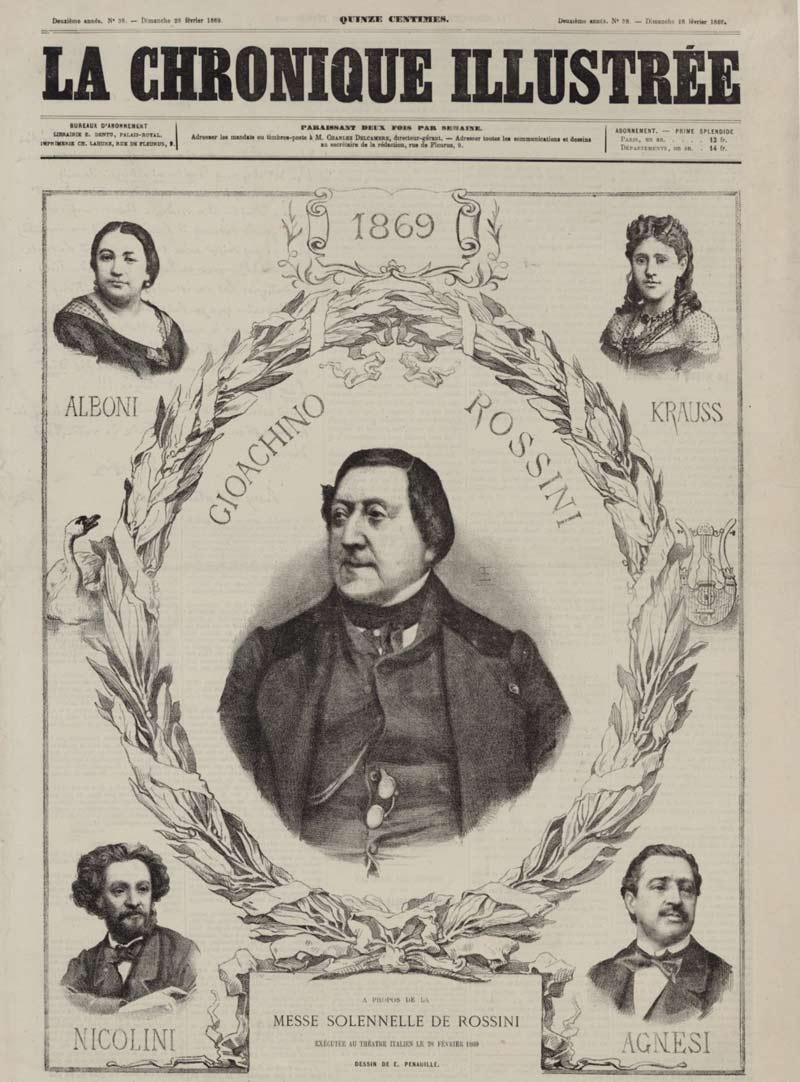 À propos de la Messe Solennelle de Rossini, exécutée au Théâtre Italien le 28 février 1869, Edme Penauille © Gallica