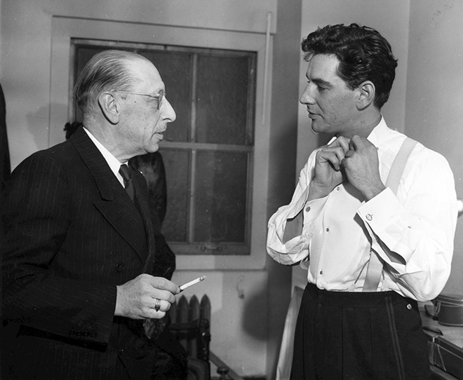 Igor Stravinski et Leonard Bernstein, photo de Ben Greenhaus, 1946. Library of Congress