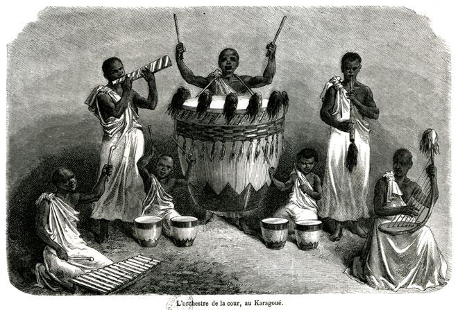 L'orchestre à la cour au Karagoué, extrait de Les sources du Nil, Speke 1857-1863 © BNF