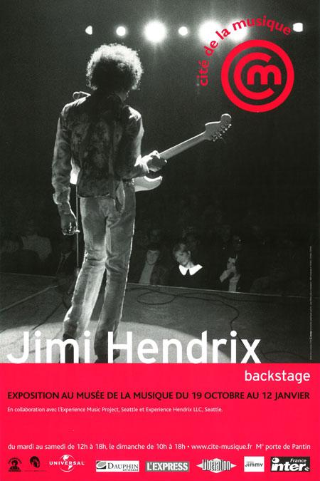 Affiche de l'exposition Jimi Hendrix Backstage © Philharmonie de Paris - Cité de la musique