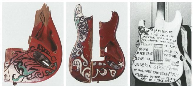 Fragments de trois Fender Stratocaster fracassées et peintes par Jimi Hendrix, 1967 © EMP