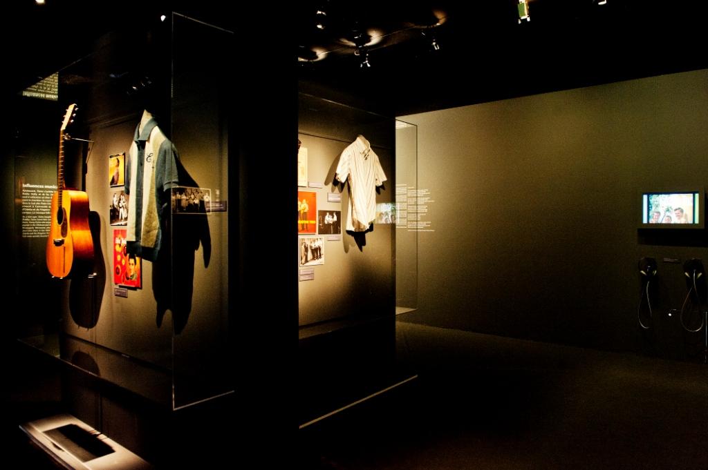Vue de l'exposition Bob Dylan, Cité de la musique - Influences musicales © William Beaucardet