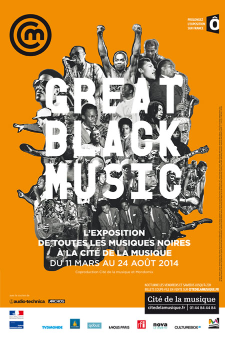 Affiche de l'exposition Great Black Music, Philharmonie de Paris - Cité de la musique