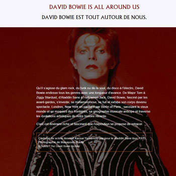 Site intrenet Exposition David Bowie Is Philharmonie de Paris
