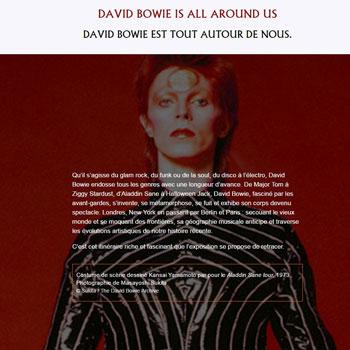 Site intrenet Exposition David Bowie Is Philharmonie de Paris