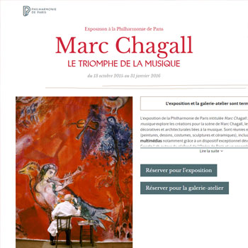 Site intrenet Exposition Marc Chagall à la Philharmonie de Paris