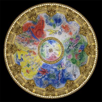 Le Plafond de Marc Chagall pour l'Opéra de Paris - 1er ensemble de panneaux - Marc Chagall - Date: 1963-01-01/1964-09-23, 1963-01-01/1964-09-23 - Droits : © Adagp, Paris 2014 Chagall ®