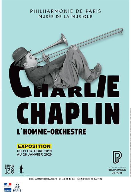 Affiche exposition Charlie Chaplin - Cité de la musique - Philharmonie de Paris