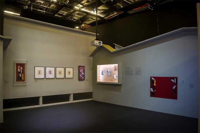 Vue de l'exposition : Charlot cubiste. Photo : Nora Houguenade - Cité de la musique - Philharmonie de Paris.