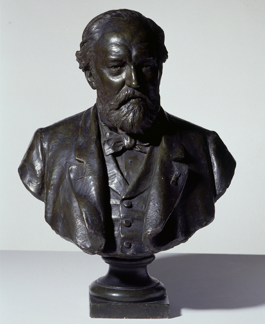 Buste d'Aldolphe Sax, Edouard François Millet de Marcilly, fin XIXe siècle, E.975 © Cité de la musique - Photo : Albert Giordan