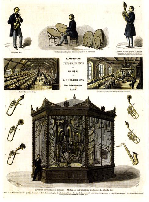 Exposition universelle de Londres. Instruments de M.Adolphe Sax. Le Monde illustré, vol.7, n°299 (3 janvier 1863) © BNF