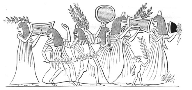 Cortège funèbre chez les égyptiens  (d'après la peinture d'un tombeau de Thèbes, publiée par Wilkinson). © Cité de la musique - Musée de la musique