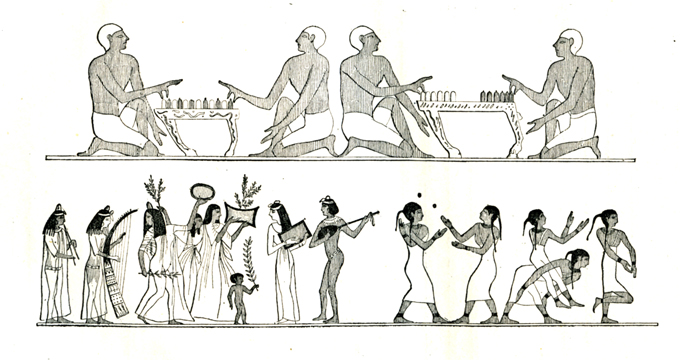 Peinture égyptienne avant le siège de Troie, J. Rambosson, Les harmonies du son et l'histoire des instruments de musique © Cité de la musique