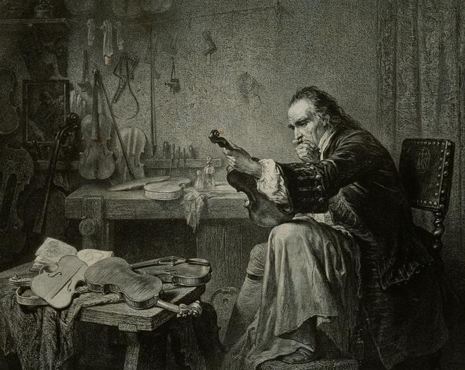Stradivarius dans son atelier, d'après J.E. Hamman, XIX<sup>e</sup> siècle, E.01040, Collection Musée de la musique © Cité de la musique - Jean-Marc Anglès