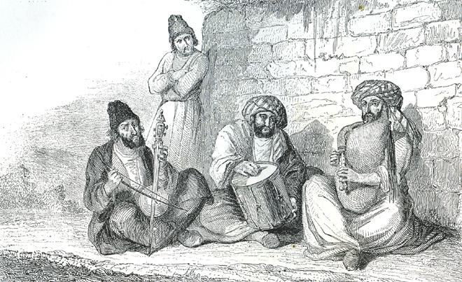 Musiciens ambulants de Bouschir (Perse) J. Rambosson, Les harmonies du son et l'histoire des instruments de musique © Cité de la musique