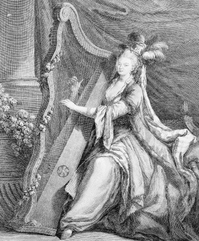 Madame Favart jouant de la harpe, gravure de  Pruneau, 1752 © BnF