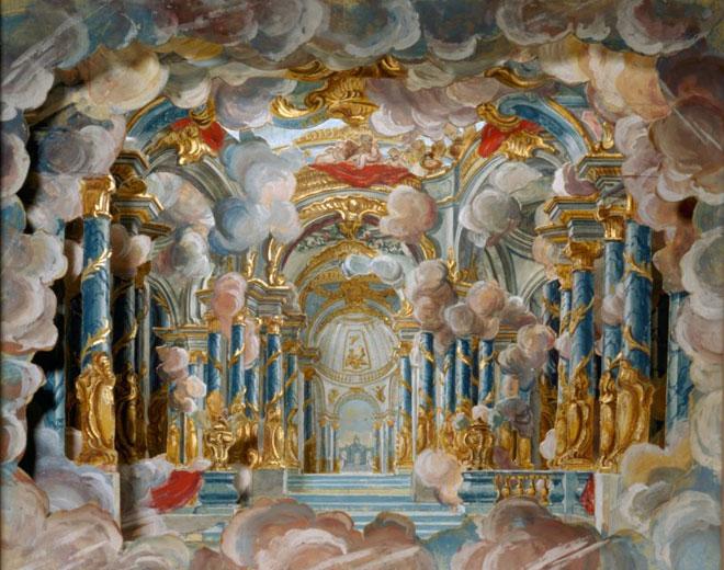 Palais environné de nuages, décor pour le final de Dardanus, maquette construite pour la reprise à l'Opéra, par Piero Bonifazio Algieri, 1760 © Château de Champs-sur-Marne, Centre des monuments nationaux