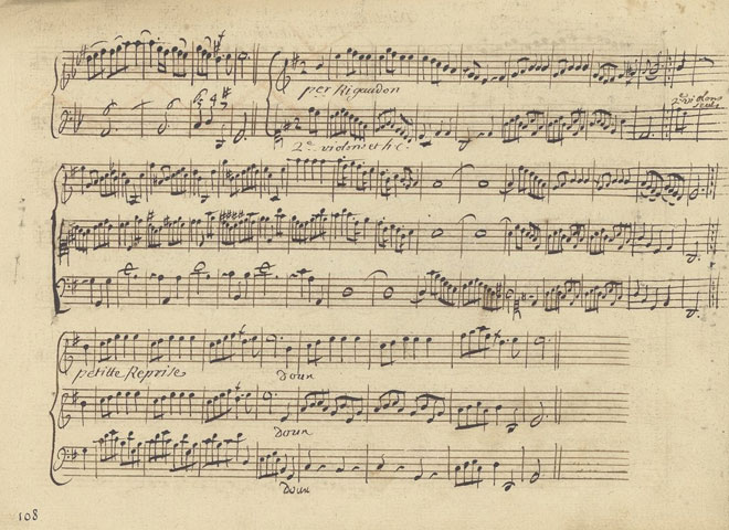Partition de Dardanus (rigaudon) de Rameau, manuscrit autographe © Gallica-BnF