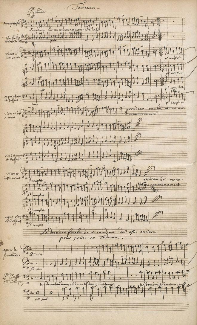 Partition du Te Deum de Marc-Antoine Charpentier, manuscrit autographe © Gallica-BnF