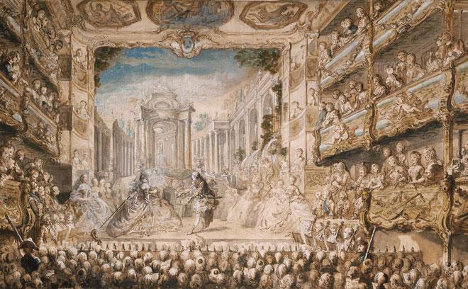 Représentation de Armide de Lully, par Gabriel de Saint-Aubin. Intérieur de la première salle de l'Opéra situé au Palais-Royal où a eu lieu la création de Dardanus, 1761 © Museum of Fine Arts, Boston