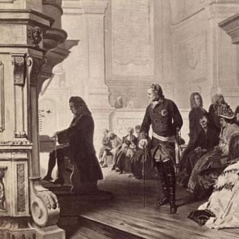 Johann Sebastian Bach à l'orgue devant Frederic le Grand, par Hermann Kaulbach © Österreichische Nationalbibliothek