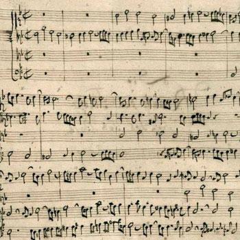 Première page du Contrepoint 1 de L'Art de la fugue, manuscrit autographe de Bach (détail) © Berlin State Library, Allemagne