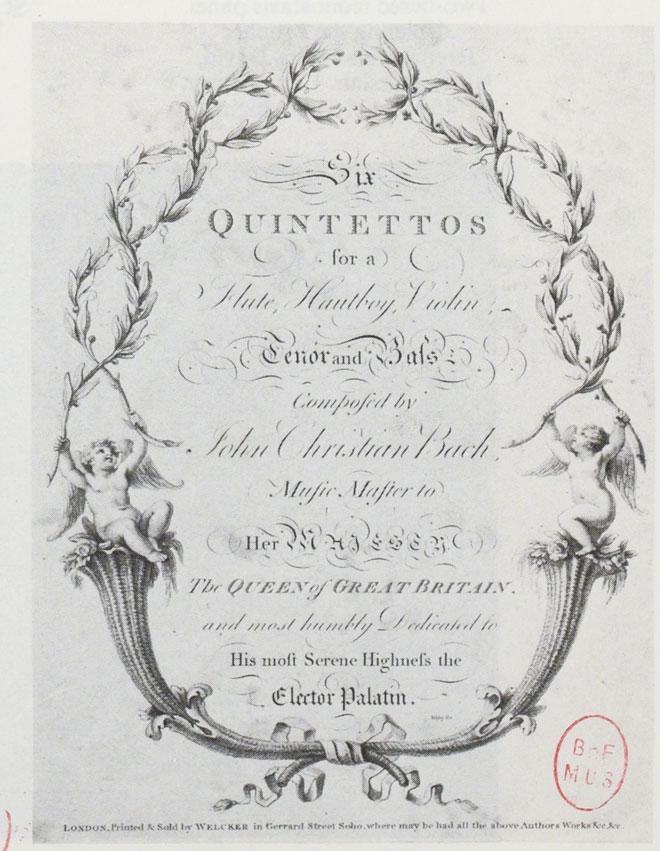 Six quintettes pour flûte, hautbois, violon de Johann Christian Bach, frontispice, vers 1770 © Gallica-BnF