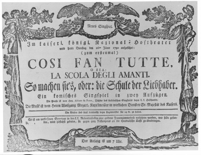 Affiche pour la première représentation de Così fan tutte au Burgtheater de Vienne le 26 janvier 1790 © Österreichische Nationalbibliothek