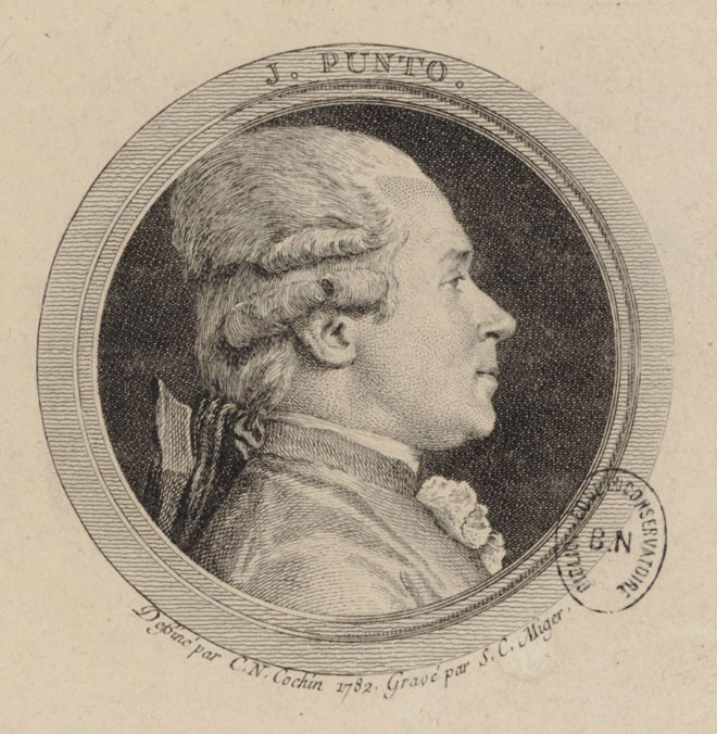 Jan Vaclav Stich (connu sous le nom de Giovanni Punto), dessiné par C. N. Cochin, 1782, gravé par S.C. © Gallica-BnF