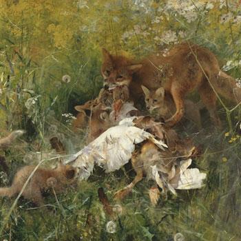 Famille de renards, par Bruno Liljefors, 1886 © Nationalmuseum, Stockholm