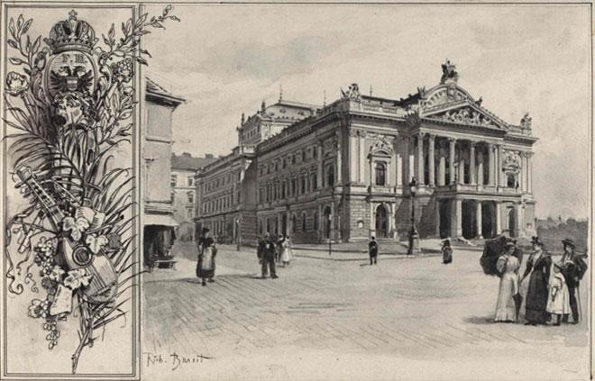 Le théâtre de Brno, aquarelle de Rudolf Bernt, vers 1897 © Österreichische Nationalbibliothek