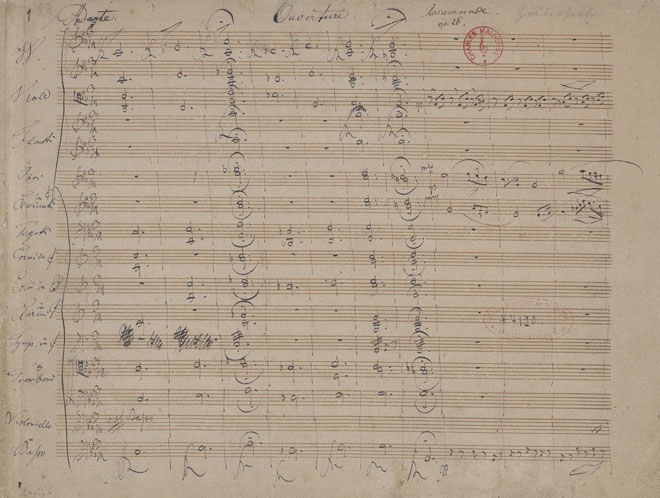 Partition de l'Ouverture de Rosamunde, manuscrit autographe de Schubert © Gallica-BnF