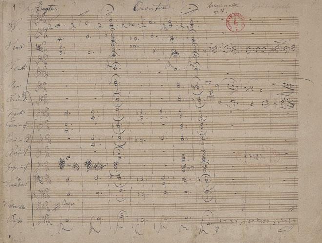 Partition de l'Ouverture de Rosamunde, manuscrit autographe de Schubert © Gallica-BnF