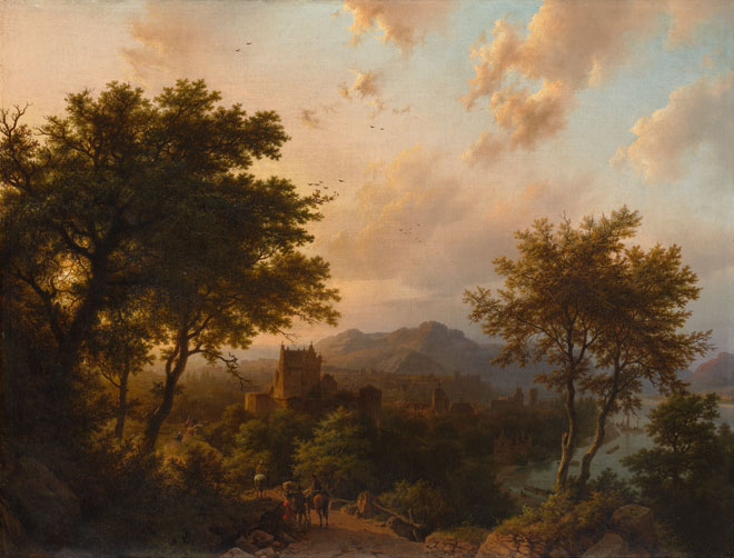Coucher de soleil sur le Rhin, par Baren Cornelis Koekkoek, 1853 © Metropolitan Museum