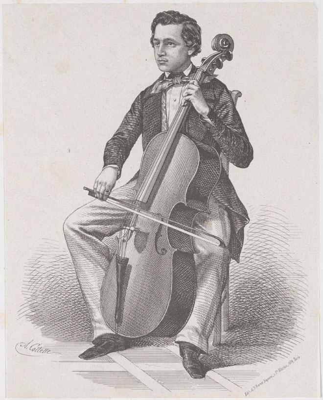 Auguste Tolbecque, créateur du Concerto pour violoncelle n°1 de Camille Saint-Saëns, lithographie de Alexandre Desiré Collette, 1850 © Metropolitan Museum