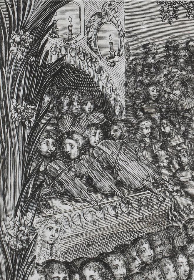 Almanach de 1669, la magnifique et royale fête de Versailles, détails des musiciens © Gallica-BnF