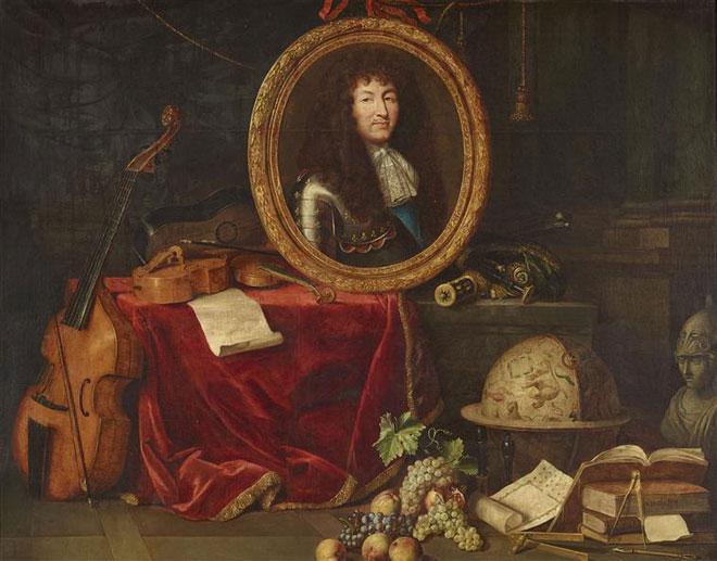 Louis XIV protecteur des arts et des sciences, par Jean Garnier © Château de Versailles