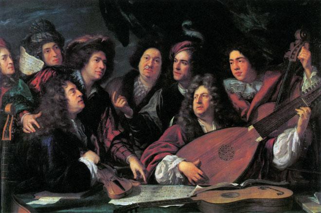 Portrait de plusieurs musiciens du siècle de Louis XIV, par François Puget. On identifie traditionnellement les deux figures principales comme étant Jean-Baptiste Lully et Philippe Quinault © Musée du Louvre