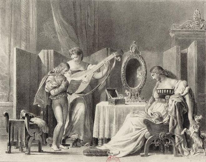 La Romance de Chérubin, estampe d'après Fragonard © Gallica-BnF
