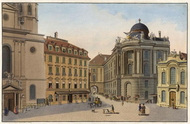 La place, l'église Saint-Michel et le Burgtheater à Vienne, 1783 © Österreichische Nationalbibliothek