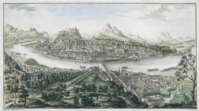 Vue de la ville capitale de Salzbourg avec la forteresse, par Franz Heinrich von Naumann © Österreichische Nationalbibliothek