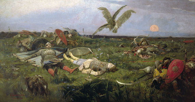 Après la bataille entre Igor Sviatoslavitch et les Polovtses, par Viktor Vasnetsov, 1889 © Gallerie Tretiakov, Moscou