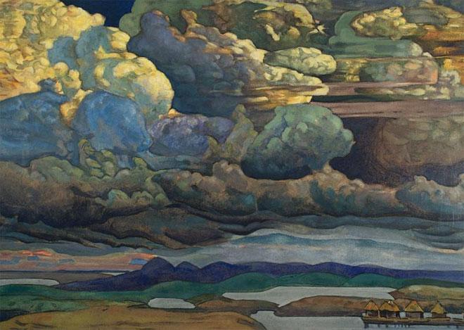Bataille dans le ciel, par Nicolai Roerich, 1912 © State Russian Museum, St-Pétersbourg