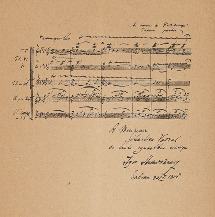 Extrait de partition du Sacre du printemps, manuscrit autographe de Igor Stravinski © NY Public Library, digital collections