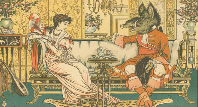 Walter Crane, La Belle et la Bête en conversation © NY Public Library, digital collections