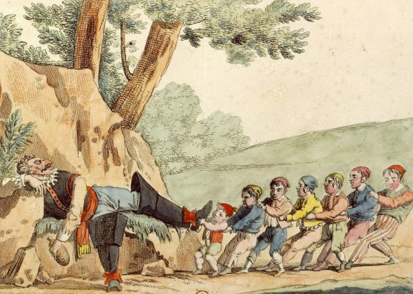 Le petit Poucet et ses frères otent les bottes de l'ogre © Gallica - BnF