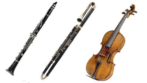 La clarinette (la Belle), le contrebasson (la Bête), le violon (le prince)